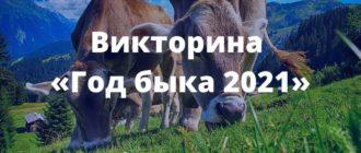 Викторина «Год быка 2021» (с ответами)